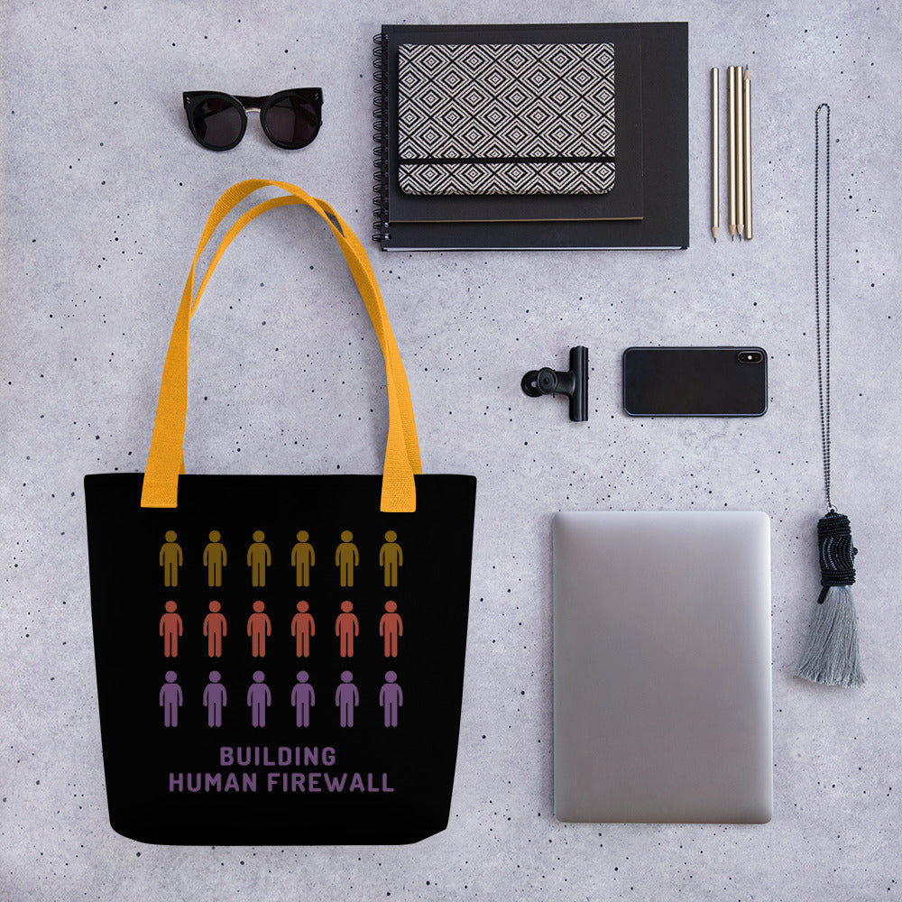 """Building Human Firewall"" Cyber Security Custom Tote bag www.buildinghumanfirewall.com"