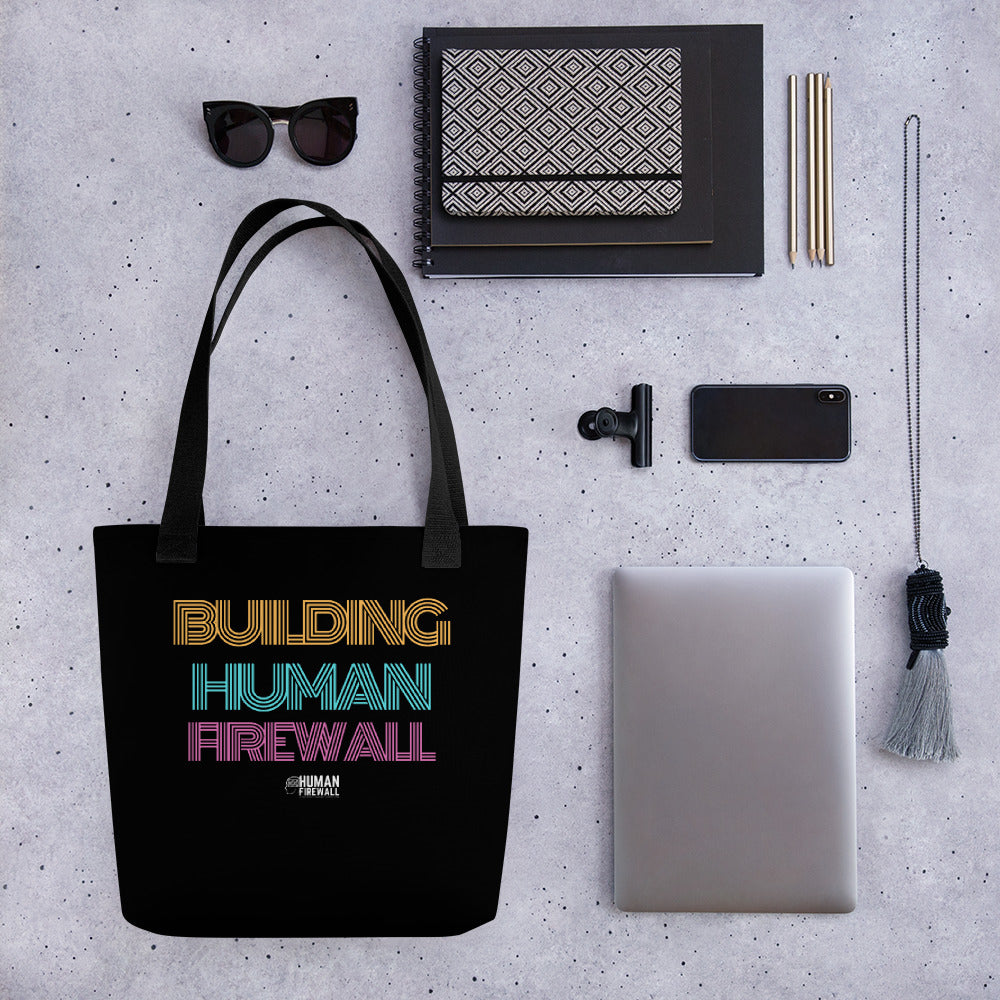 """Building Human Firewall"" Vintage Cyber Security Custom Tote bag www.buildinghumanfirewall.com"