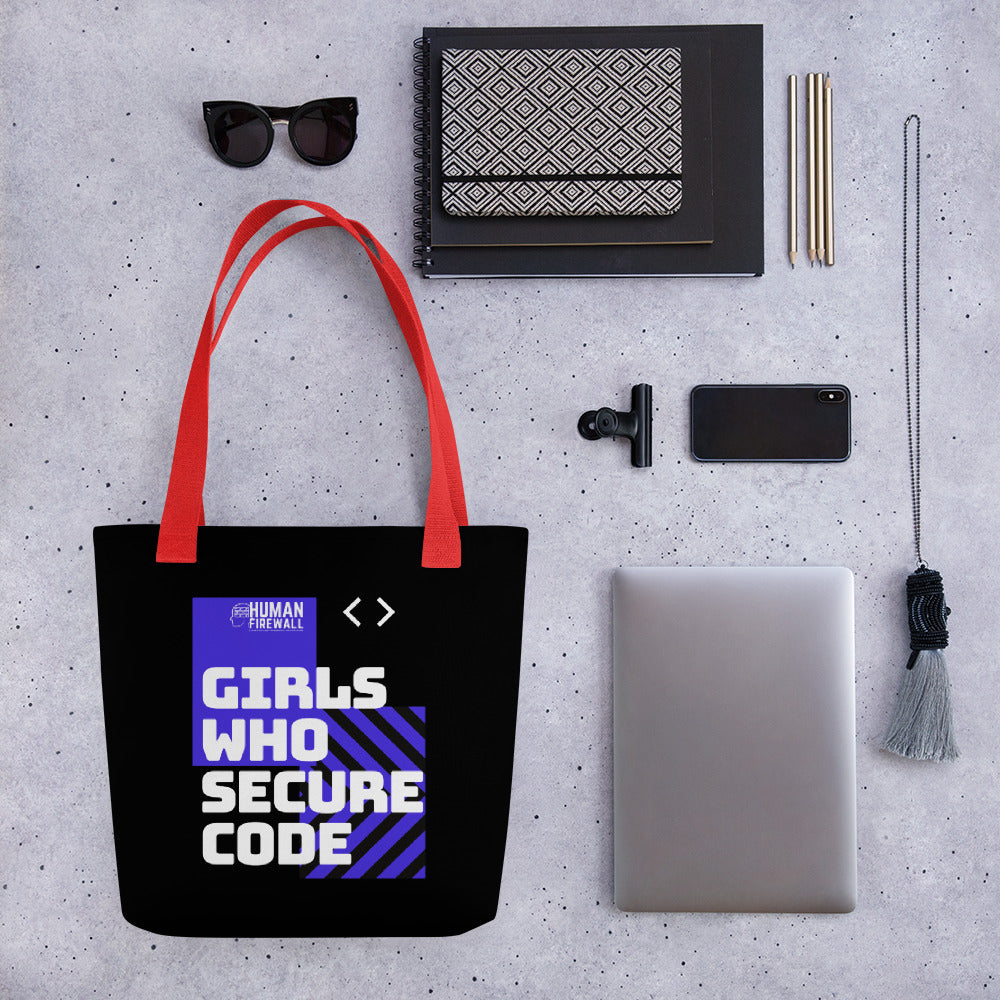 """Girls who secure code"" Cyber Security Custom Tote Bag"