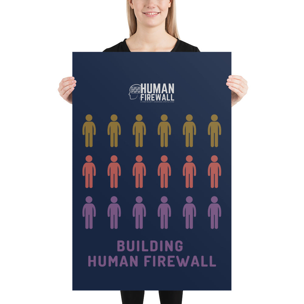 """Building Human Firewall (People)"" Cyber Security Custom Sample Poster www.buildinghumanfirewall.com"