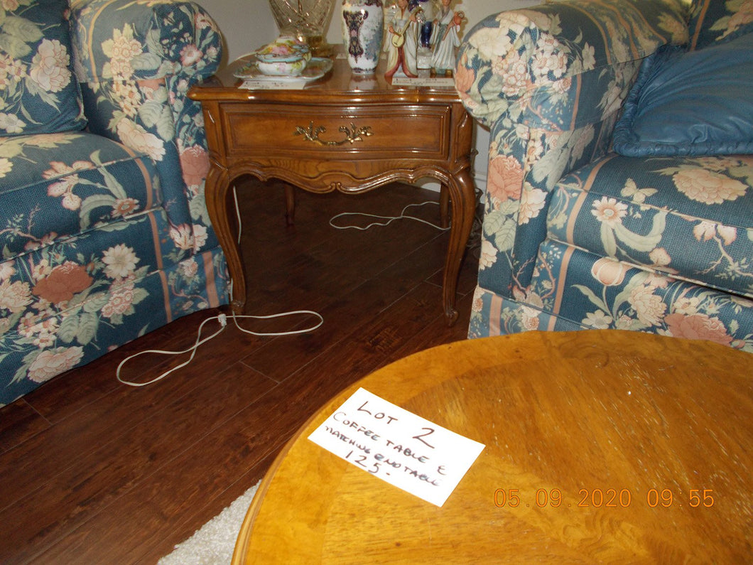 Lot 2 Coffee Table and Matching End Table