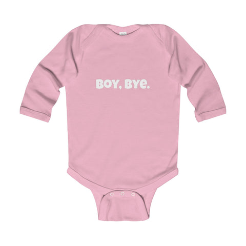 Boy Bye. Long Sleeve Creeper - Pink / 6-12M - Kids clothes