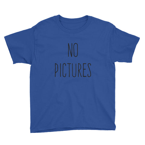 No Pictures Youth Short Sleeve T-Shirt - Royal Blue / XS - T-Shirt