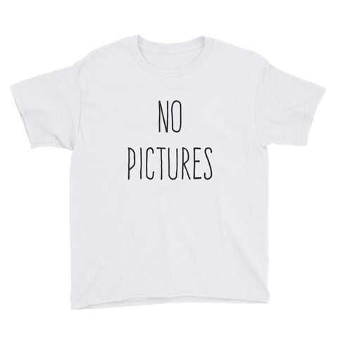 No Pictures Youth Short Sleeve T-Shirt - White / XS - T-Shirt