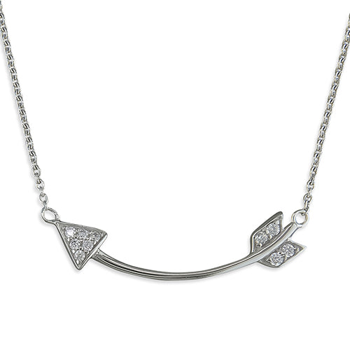 Silver Curved Cubic Zirconia Arrow Necklace