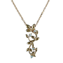 Rose Gold Plated Cubic Zirconia Leaf Necklace