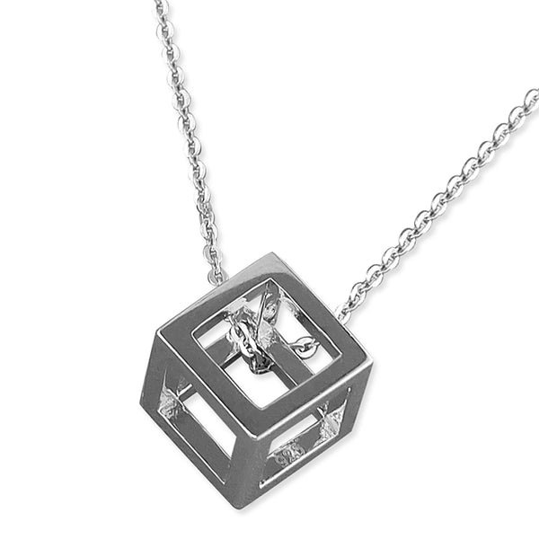 Rhodium Plated Cube Necklace