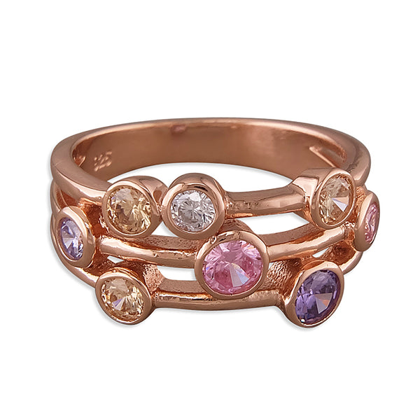 Rose Gold Plated Triple Row Ring