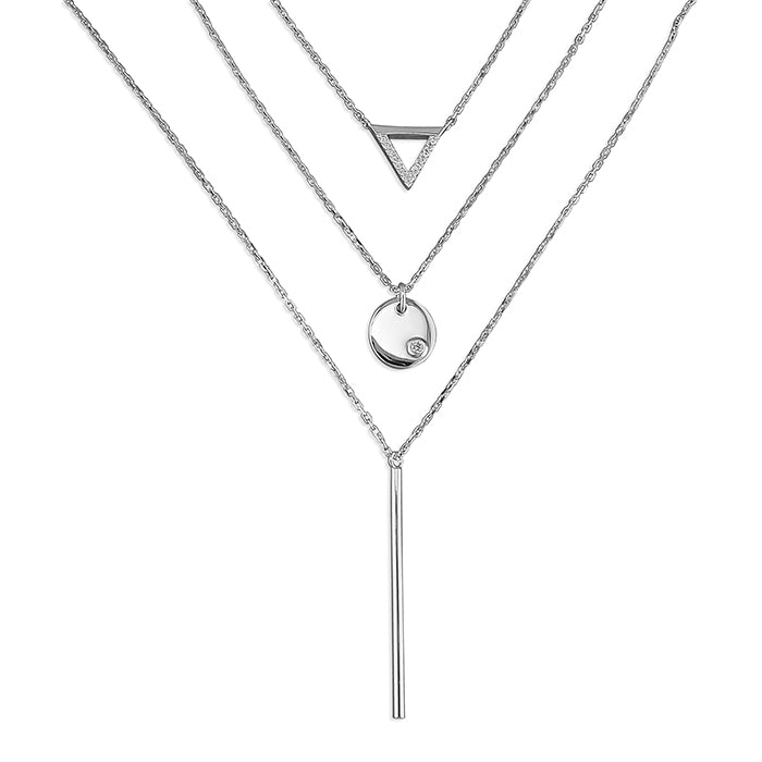 Triangle Disc Bar Triple Necklace