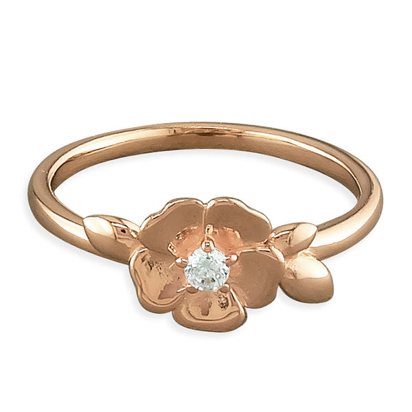 Rose Gold-Plated Cubic Zirconia-set Flower Ring