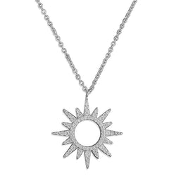 Silver Cubic Zirconia Sun Necklace
