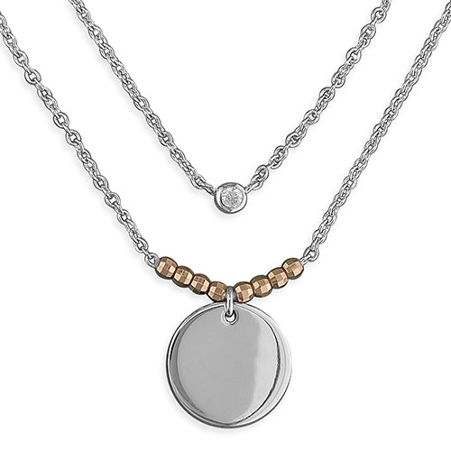 Silver Disc with Rose Gold-plated double drop Necklace