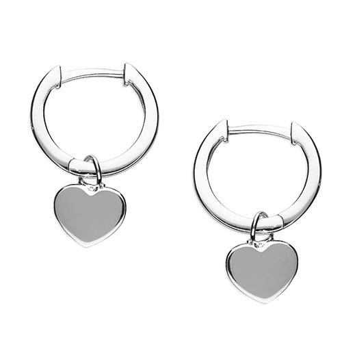 Plain Heart Huggie Hoops