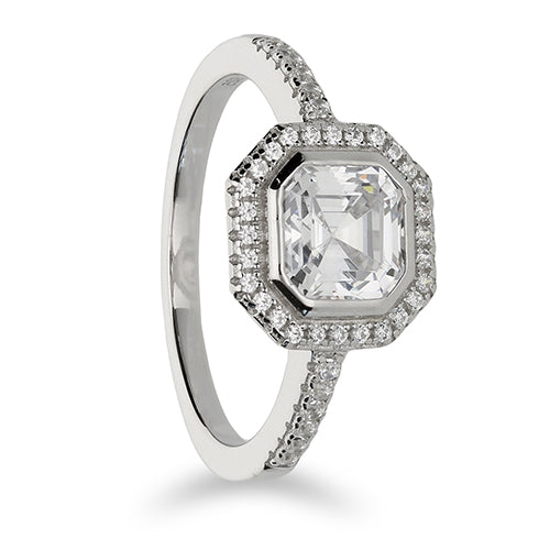 Silver Cubic Zirconia Square Ring