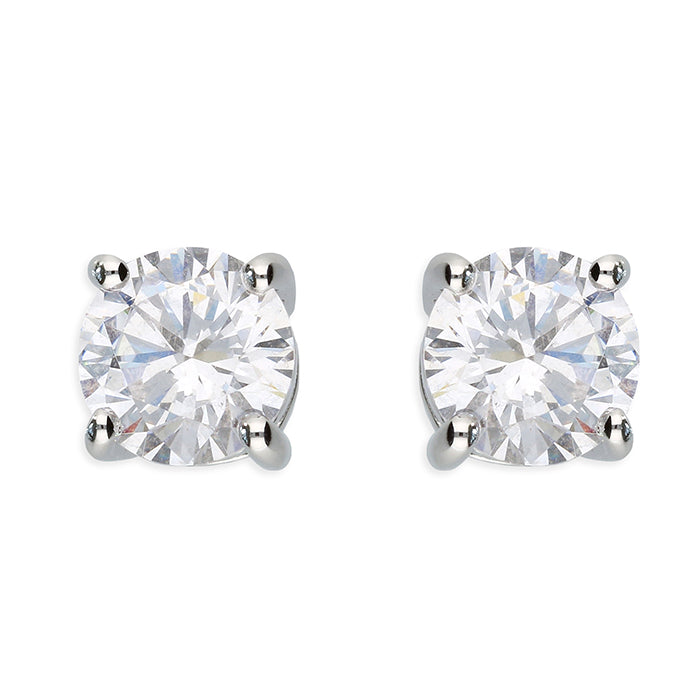 Silver 6 mm Cubic Zirconia Studs