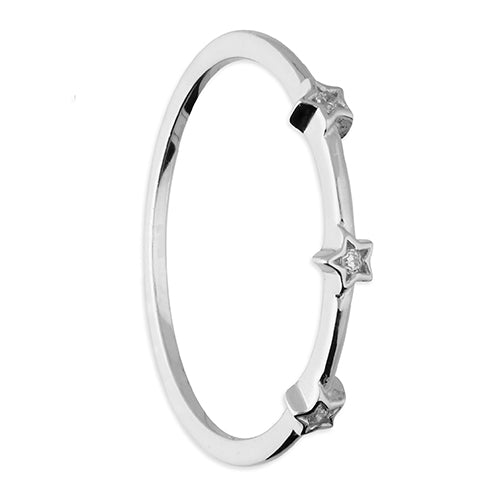 3 Cubic Zirconia Stars on a Silver Band