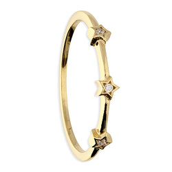 3 Cubic Zirconia Stars on a Yellow Gold Band