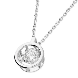 Cubic Zirconia in Plain Halo Necklace