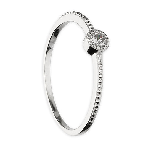 Cubic Zirconia Small Stone On Thin Band