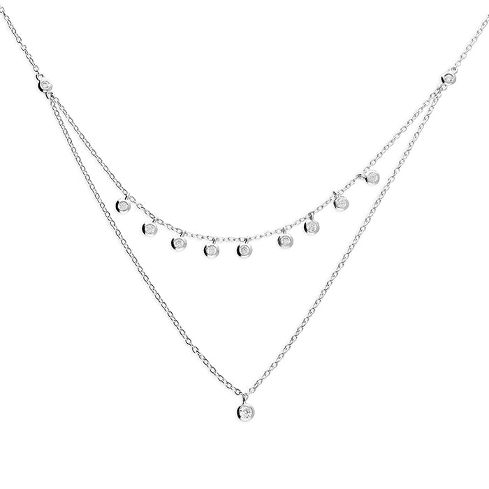 Double Chain Necklace With Small Cubic Zirconias
