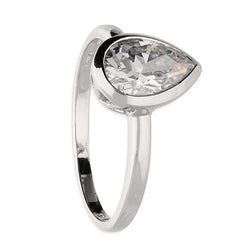 Rub-over Teardrop Cubic Zirconia Solitaire