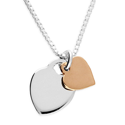 2 Tone Double Heart Necklace