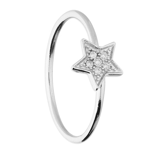Cubic Zirconia Set Star On Thin Band