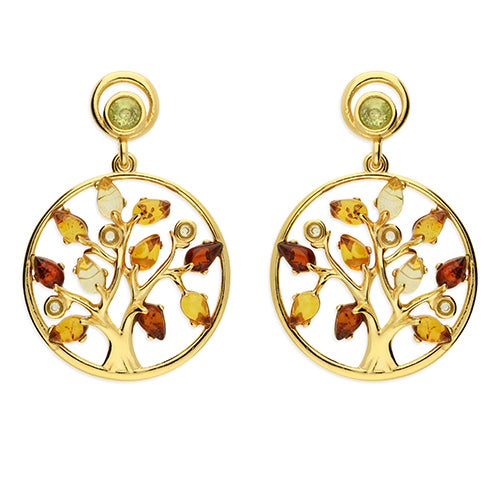 Yellow Gold Plated Sterling Silver Tree Of Life Earrings