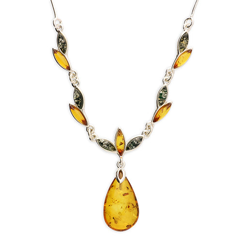 Cognac Amber Teardrop With Mixed Amber Leaf Decoration On  Silver Chain