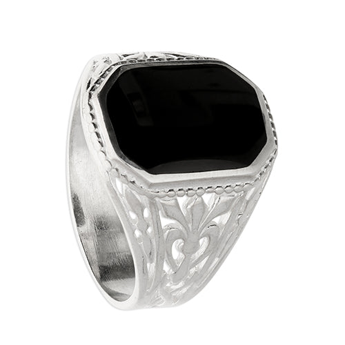 Silver Rectangle Shape Jet Stone Fancy Ring