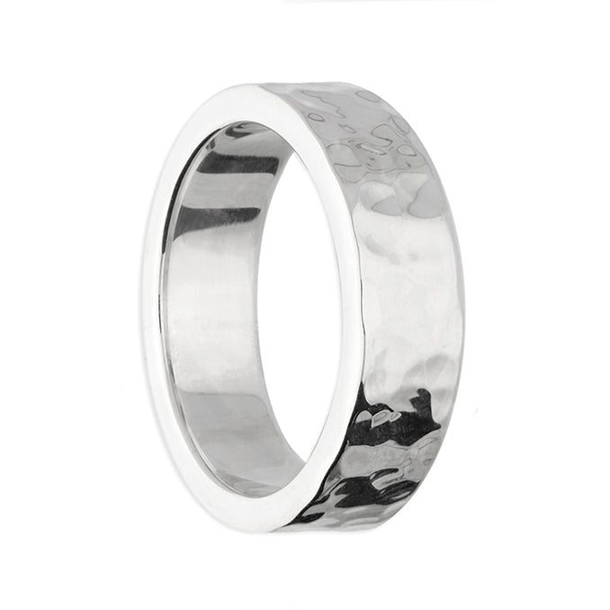 Silver Stylish Hammered Ring