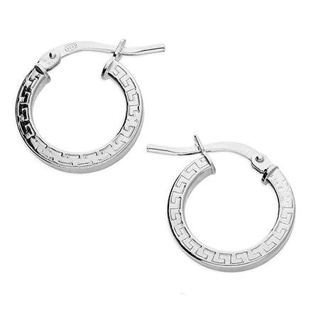 Silver Patterned Hinged Hoops