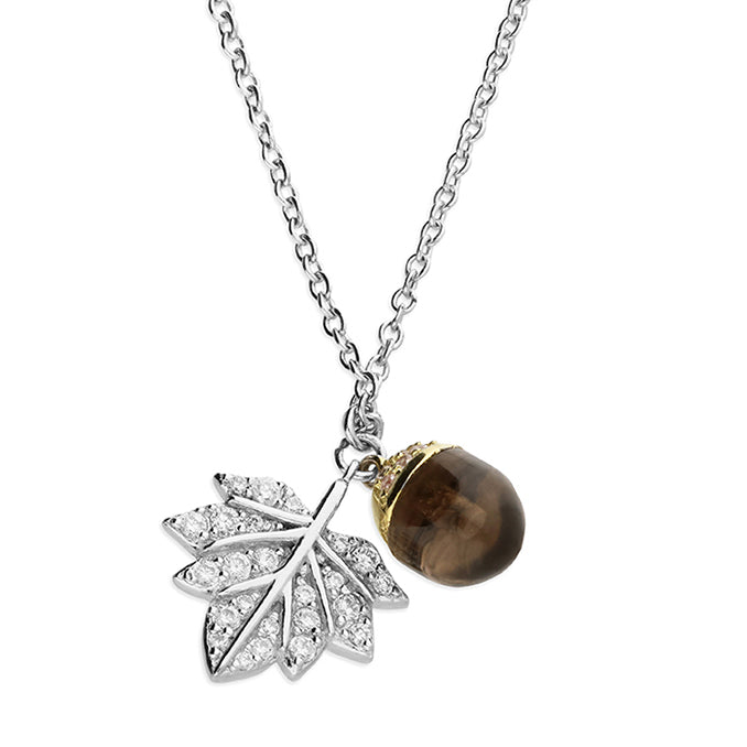 Silver Acorn & Leaf Necklace