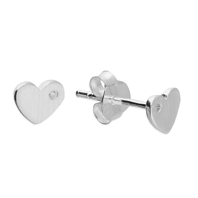 Brushed Heart Studs