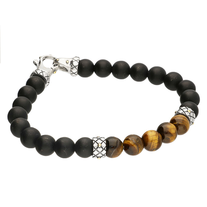 Men's Tiger's eye Black Beaded Bracelet
