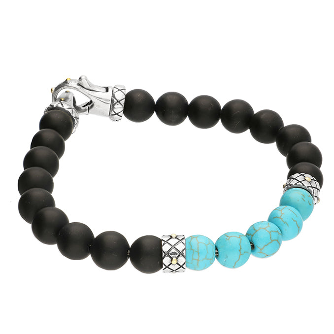 Men's Turquoise Black Beaded Bracelet