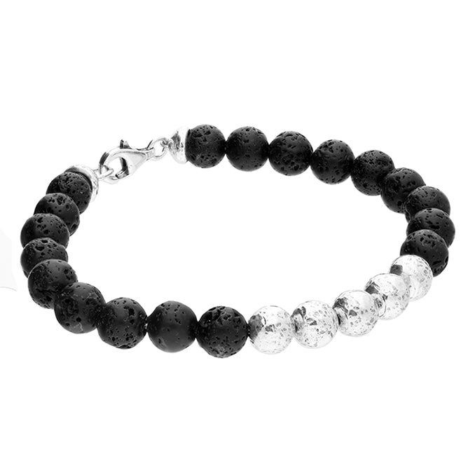 Men's Black Lava Beaded Bracelet