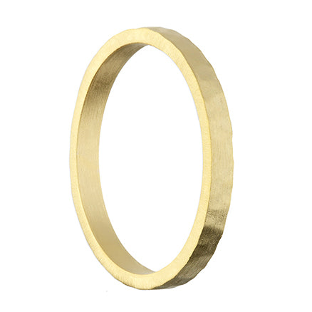 Gold Plated Thin Satin Hammered Band