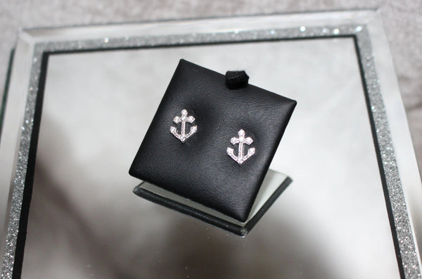 Sterling Silver Cubic Zirconia Detailed Anchor Studs
