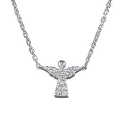 Silver Cubic Zirconia Angel Necklace