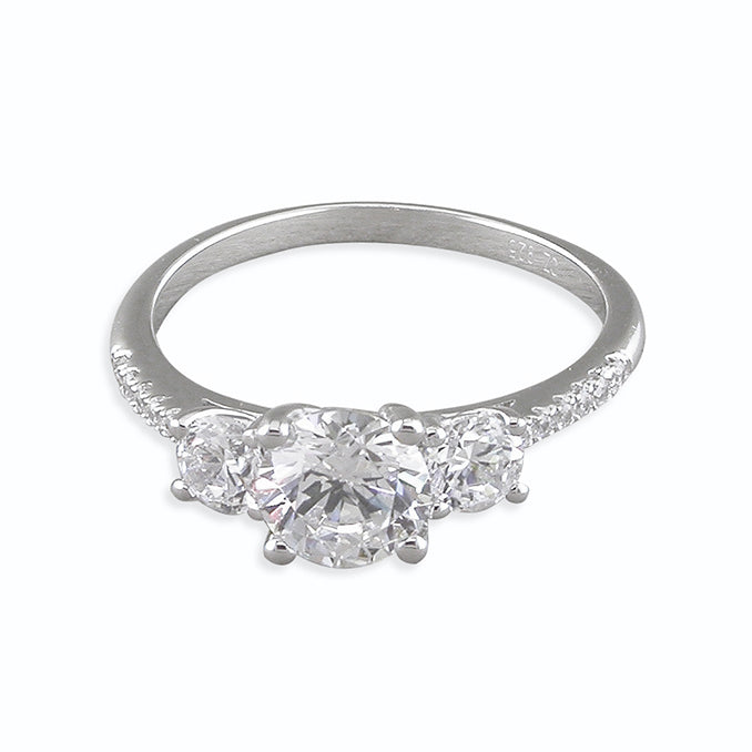 Triple Pave Set Cubic Zirconia Ring