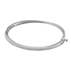 Narrow Single-Row Cubic Zirconia Hinged Bangle