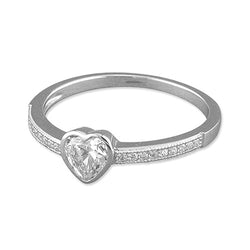 Silver Cubic Zirconia Heart On Micro Set Band