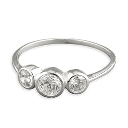 Triple Round Set Bezel Ring