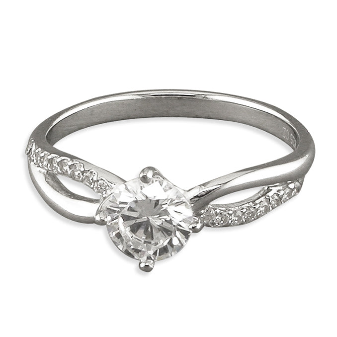 Silver Solitaire Crossover Ring