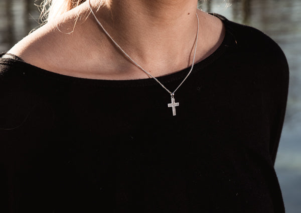 Micro-set Cubic Zirconia Cross On 18inch Chain