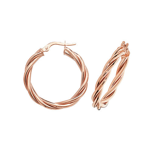 9ct Rose Gold Twist Hoops