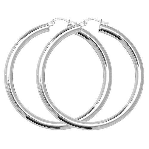 Sterling Silver Thick Plain Hoops
