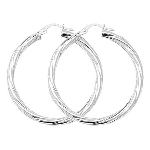 Sterling Silver Subtle Twist Hoops