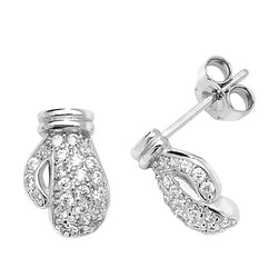 Sterling Silver Cubic Zirconia Detailed Boxing Glove Studs